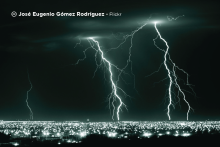 Sample image: Lightning over a city